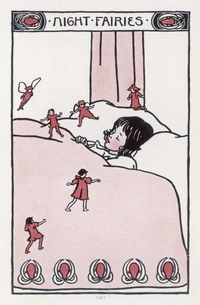 A little girl sleeps soundly while all about, the night fairies dance about her bed
