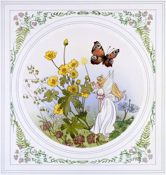 Fantasy scene of a fairy casting a magic spell with her wand over a clump of buttercups as a Peacock Butterfly flaps serenely past. Painting by Malcolm Greensmith set within a decorative circular border