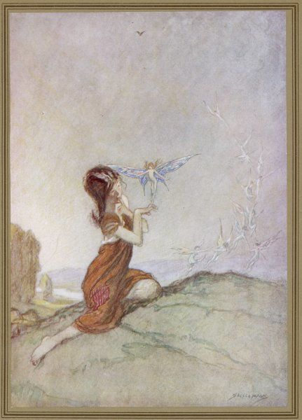 While a girl is playing with fairies, one of them perches on her finger