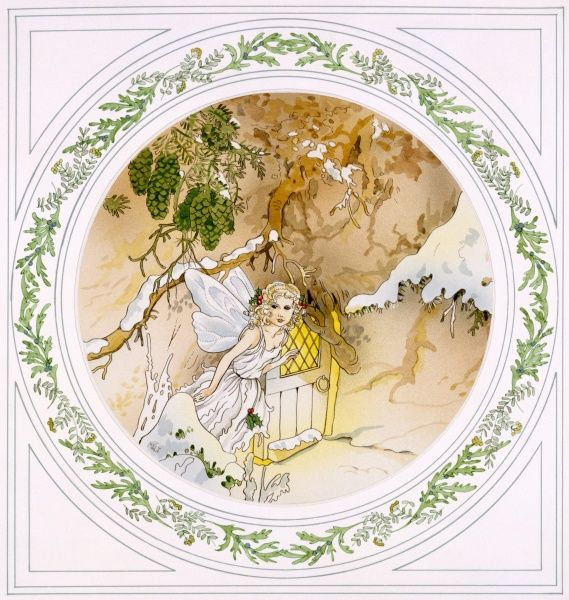 A small fairy leaves her house set in the roots of a tree. Watercolour painting by Malcolm Greensmith