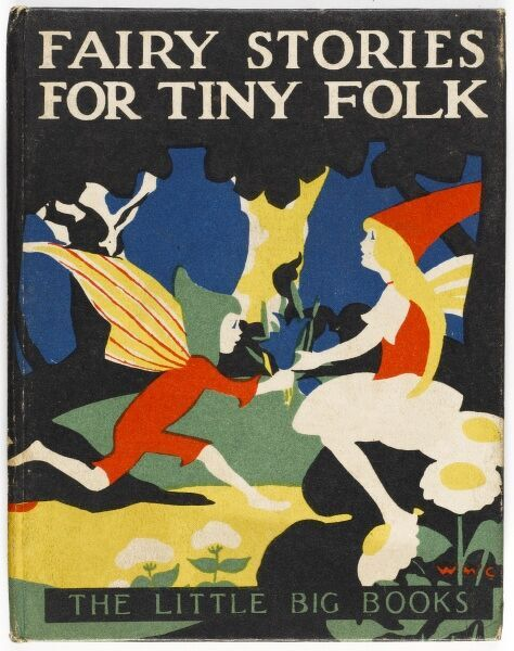 A bold and colourful cover design for the front cover of a children's book from the 1920s featuring an elf and a fairy in a woodland glade