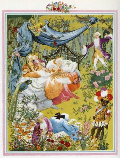 Sleeping Beauty by Pauline Baynes, one of a four illustrations of a fairy tale to reflect each season