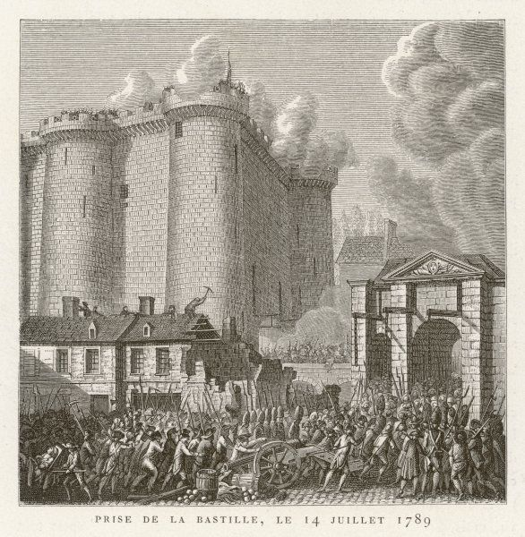 The Revolutionaries storming the Bastille, including the destruction of the surrounding buildings using pix-axes
