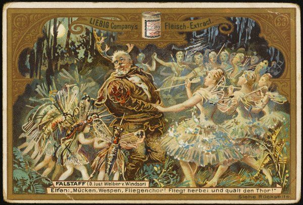 Falstaff in Windsor Forest is surrounded by what he takes to be fairies and such