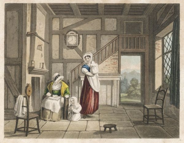 The interior of an English country home, with a child saying prayers at its grandmother's knee at 8 pm on a summer's evening
