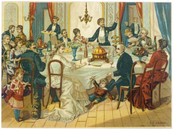 A big family party - a guest proposes a toast, children play, servants bring more food