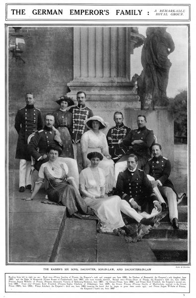 The six sons, one daughter, son-in-law and daughters-in-law of Kaiser Wilhelm II of Germany. From left, back row, Prince Joachim of Prussia, the Emperor's sixth and youngest son, born 1890, the Duchess of Brunswick (Princess Viktoria Luise