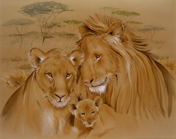 Watercolour painting by Malcolm Greensmith of a family of lions in sub-Saharan Africa