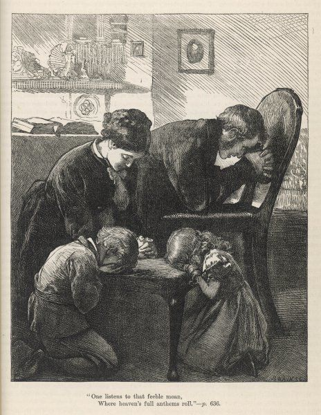 A Victorian English family kneel to say their prayers together Date: 1878