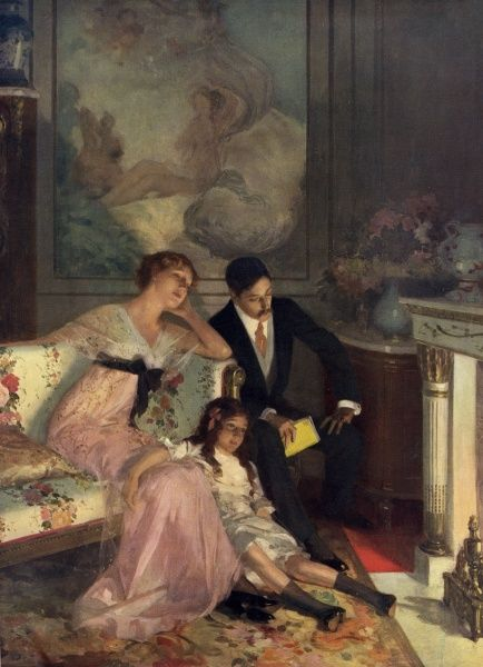 A well-to-do family sit and contemplate a particularly sad chapter from a book the father has been reading as they sit and stare into the fire at home. Date: 1913