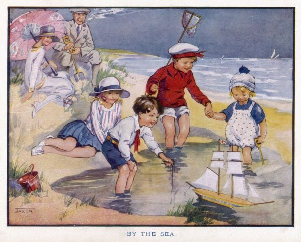 Mother, father and their four children enjoy a day out at the beach. The children paddle, and sail a toy boat
