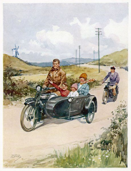 Family touring in a motor bike - mum and the kids in the sidecar
