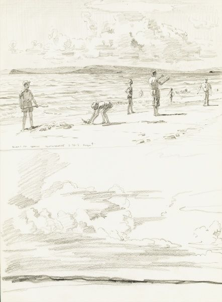 Family playing on Solent Road Beach, Southbourne. Pencil sketch by Raymond Sheppard