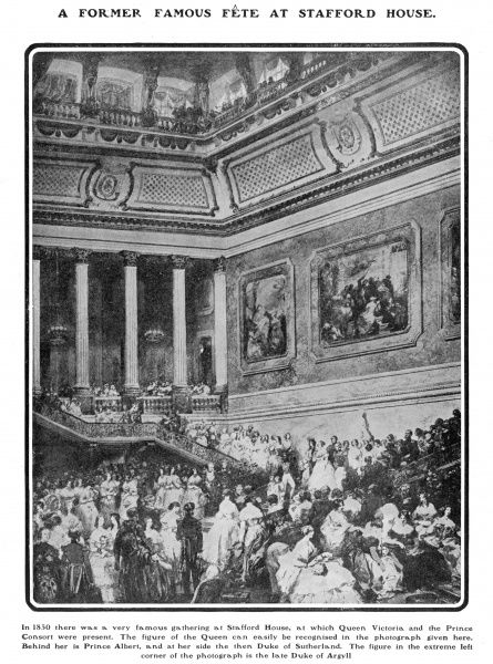 Page from The Tatler, 3rd July 1901, featuring a famous gathering at Stafford House in 1850 at which Queen Victoria and Prince Albert were present
