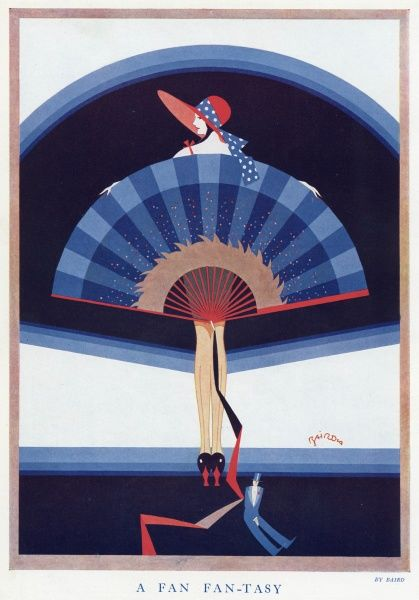 An illustration of a model posed with a large decorative fan