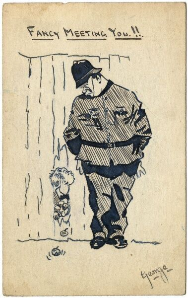Humorous illustration by George Ranstead, an amateur artist of the Great War who served in the Army Pay Corps, depicting a rascally little boy wriggling through a fence after stealing apples, only to find the gap guided by a large police officer