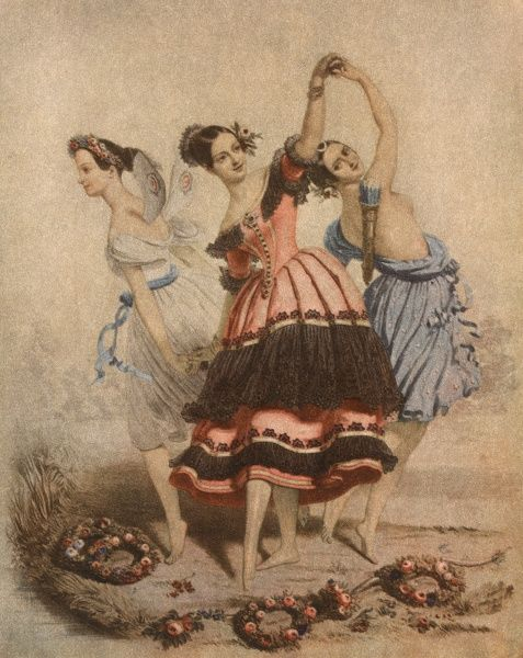 FANNY ELSSLER (centre) Austrian ballet dancer, seen here with Marie Taglioni (left) and Fanny Cerrito (right) in 'The Three Graces' Date: 1810 - 1884