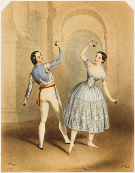 FANNY ELSSLER Austrian ballet dancer, seen here dancing with Jules Perrot in 'La Castilliana Bolero' in 'Le Delire d'un Peintre&#39