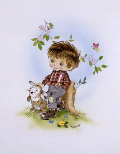 A fantasy Illustration in a cartoon-esque style showing a young boy and pet rabbit. Painting by Malcolm Greensmith