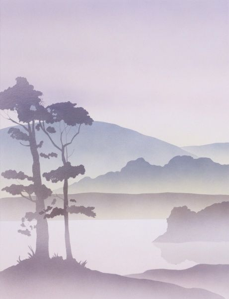 A Fantasy scene of lakeside trees in silhouette against the backdrop of misty hills and mountains. Airbrush painting by Malcolm Greensmith