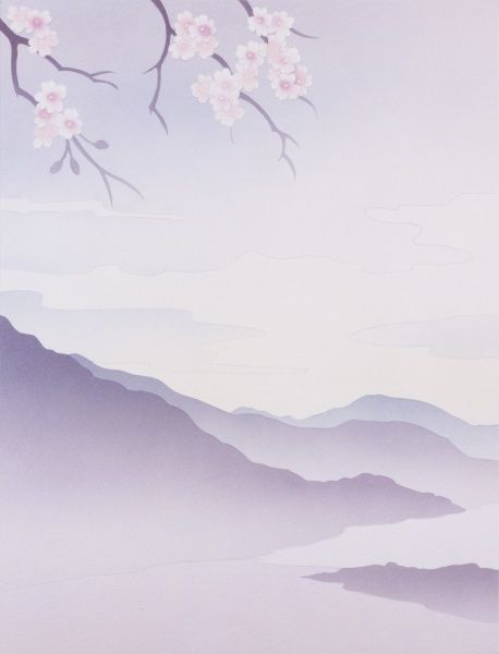 Cherry blossom branches overhang a misty fantasy landscape of soft hills, mountains and lakes. The left side of a Diptych painting by Malcolm Greensmith