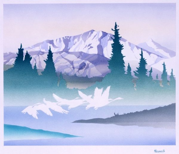 A gaggle of geese flying through the pale misty light over a lake, with snow-covered peaks dominating the background beyond a row of pine trees. Airbrush painting by Malcolm Greensmith