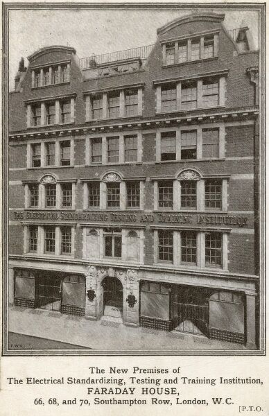 Faraday House (now part of Syracuse University) - here the *new* premises of The Electrical Standardizing, Testing and Training Institution - 66,68 and 70 Southampton Row, London. Date: circa 1910s