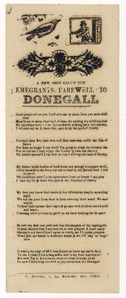 'Emigrants Farewell to Donegall' - A songsheet