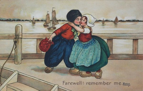 Farewell! remember me. A girl embraces her love, saying goodbye. They are standing at the docks infront of the ships. The boy is about to board a ship