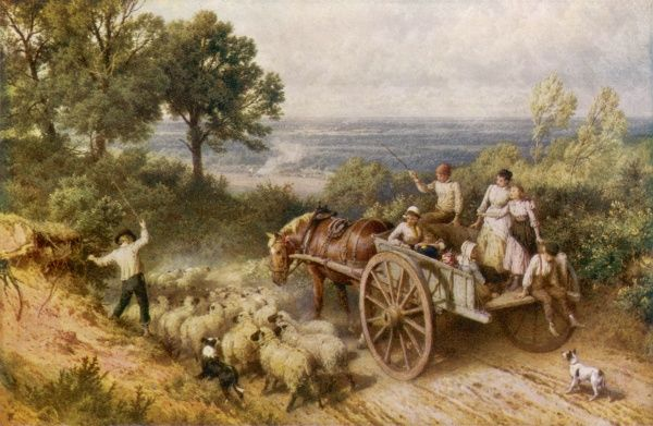 A farm cart full of children passes a flock of sheep in a narrow country lane