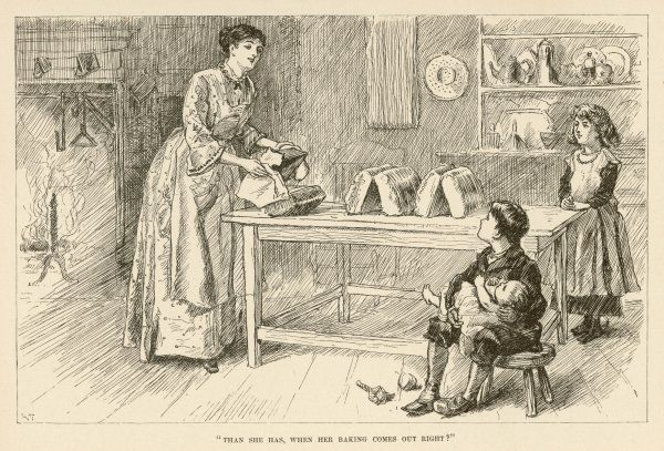 An American farmer's wife bakes a batch of loaves - the fifth is taken from its tin