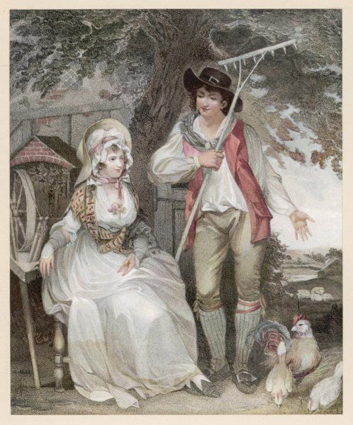 A relatively prosperous farming couple. She wears a fashionable white muslin gown & shoes with pointed toes & vamps. He is more informally attired in his shirt sleeves