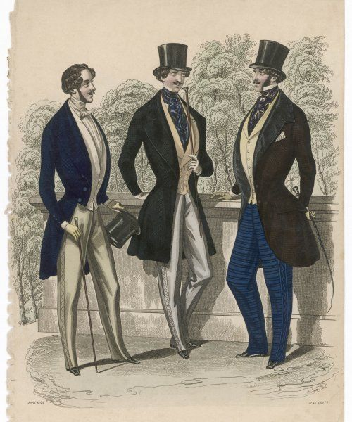 A gent in day dress clothes, also a frock coat, S-B coat curving away at the front, strapped trousers with decorative side seams, cravats & waistcoats with collars