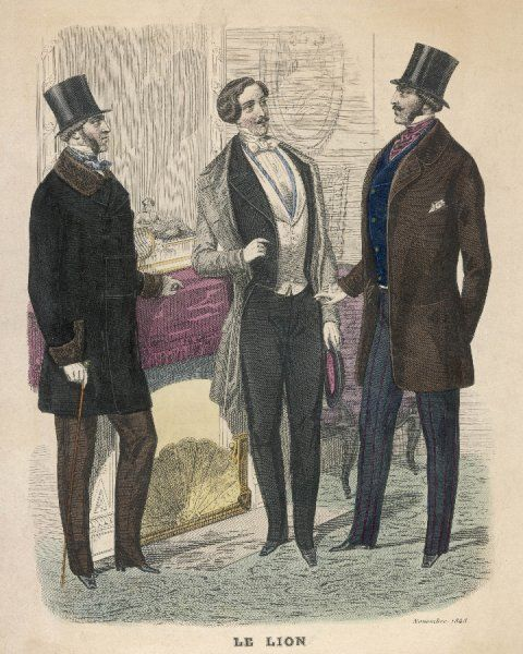 Evening dress, top coat & gibus hat; Wellesley style wrapper with fur trim & brandenburgs; loose fitting jacket & strapped pantaloons with vertical stripes