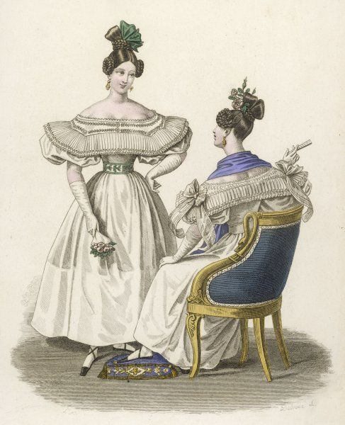 Presumably evening gowns? they are made of mousselaine & tulle adorned with ribbons at the shoulder. Both ladies wear black slippers, one has a blue scarf round her neck