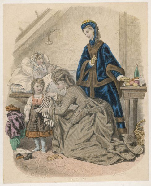 Two ladies bountiful, in fashionable garb call on a have-not bearing gifts which include cast-off clothing for the sick woman's daughter
