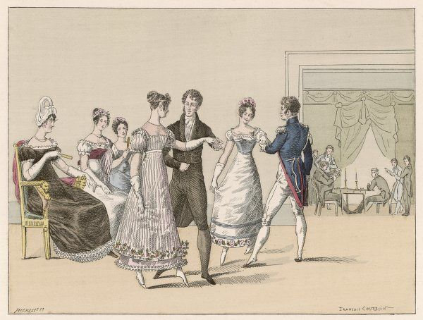 A private dance in the Chausee d'Antin, Paris : four dancers perform the 'Queue du chat' (Cat's tail)