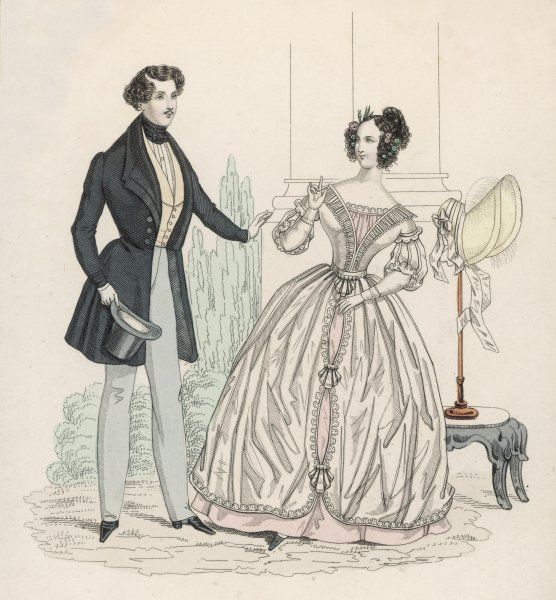 Man: frock coat with roll collar & pointed lapel. Woman: pink & white open-robe, bodice with lace tucker & quilling, tunic fastened at intervals with a shell shaped trim