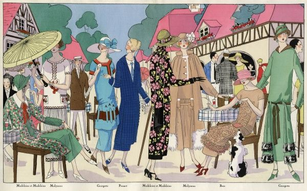 A group of fashionable ladies in outfits by various designers