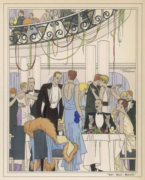 Smart people in a fashionable Paris nightclub. Dining and dancing and showing off their elegant evening clothes and dinner jacket