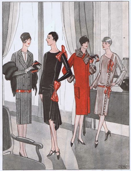 Four fashionable outfits for Spring 1928 Date: 1928