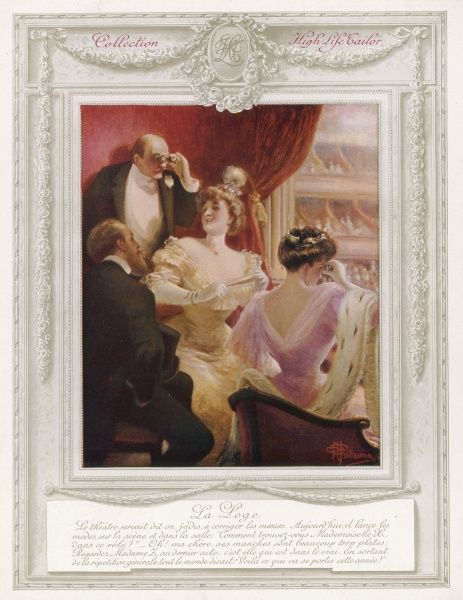 A group of four fashionable theatregoers, two men and two women, in a loggia box at a French theatre