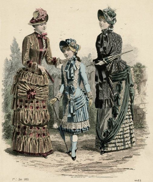Girl: long bodice & kilted skirt. Women: jacket bodice, waistcoat front, horizontal bands of gaging & puffing on the skirt; black beaded mantle, flounces & apron front Date: 1883