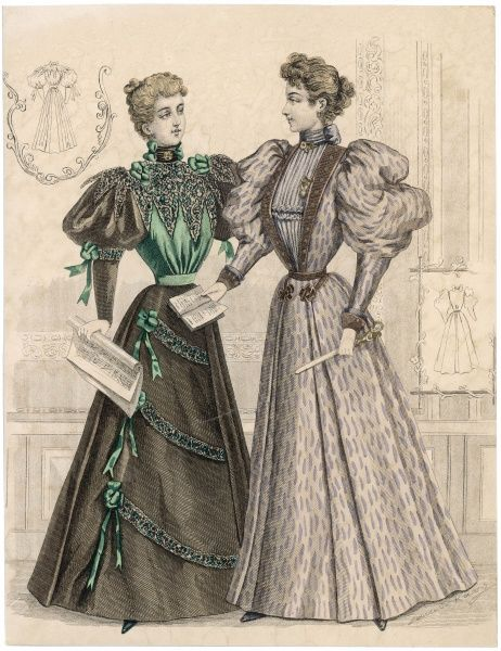 Enormous gigot sleeves & gored skirts. A green & black blouse with a large vandyked lace collar that also forms epaulettes. Open bodice & high-necked, pleated blouse