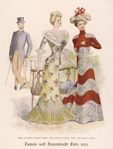 Man in morning dress, the ladies wear dresses with gored skirts, one with a netted & tasselled under-skirt, the other is ornamented with bold wavy lines
