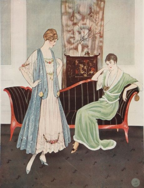 Two designs for elegant indoor dresses. One woman sits on a striking black and red chaise longue