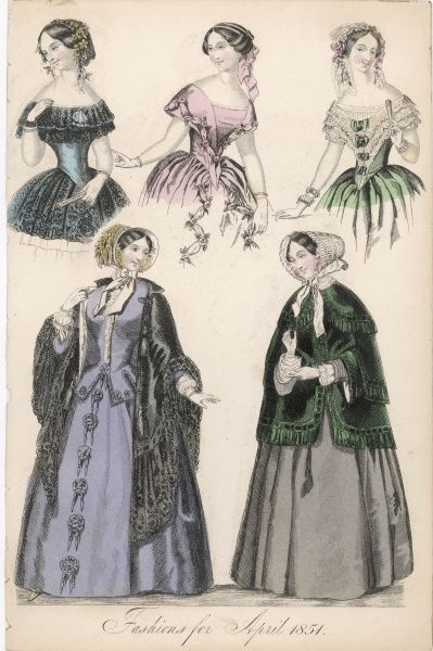 Evening corsages including a lace bertha & bows (echelles); fringed green pardessus; black lace edged mantle with collar; purple morning dress: jacket corsage with tabbed basque