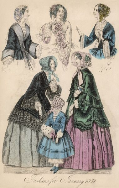 Corsages with pagoda sleeves & engageantes; black lace edged pardessus; green pardessus with a double cape & scalloped edges. The girl carries an ermine muff