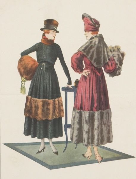 Two ladies modelling the latest Parisian coats for the winter of 1916