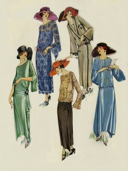 A selection fashionable dresses for young American ladies in 1923. Unattributed illustrator Date: 1923